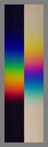 Farbtafel 06 re Abb. Newtons und Goethes Spektrum im Vergleich