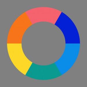 Goethes Farbenkreis (Nachdruck von Matthaei, bearbeitet und von Purpur, Orange und Gelb aus komplementarisiert, im neutralgrauen Rahmen)