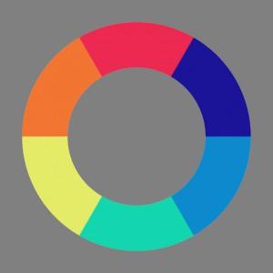 Goethes Farbenkreis nach Matthaei (farblich im Sinne der Farbenterminologie Goethes rekonstruiert)