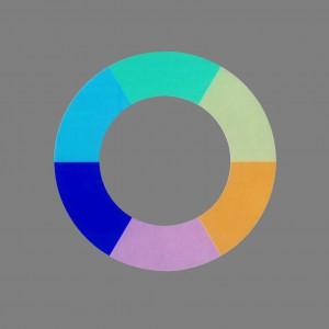 Goethes Farbenkreis nach Matthaei (in Neutralgrau eingebettet, farbinvers)