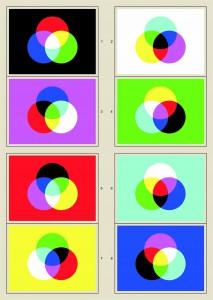 Acht verschiedene Farbmischungen