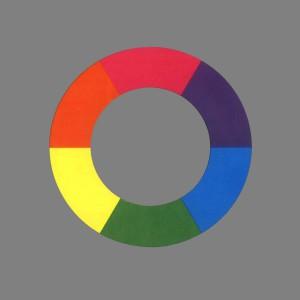 Goethes Farbenkreis nach Matthaei (in Neutralgrau eingebettet)